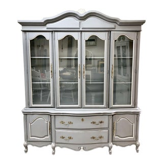 1960s French Country Bassett Furniture China Cabinet For Sale