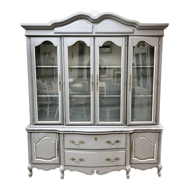 1960s French Country Bassett Furniture China Cabinet Chairish