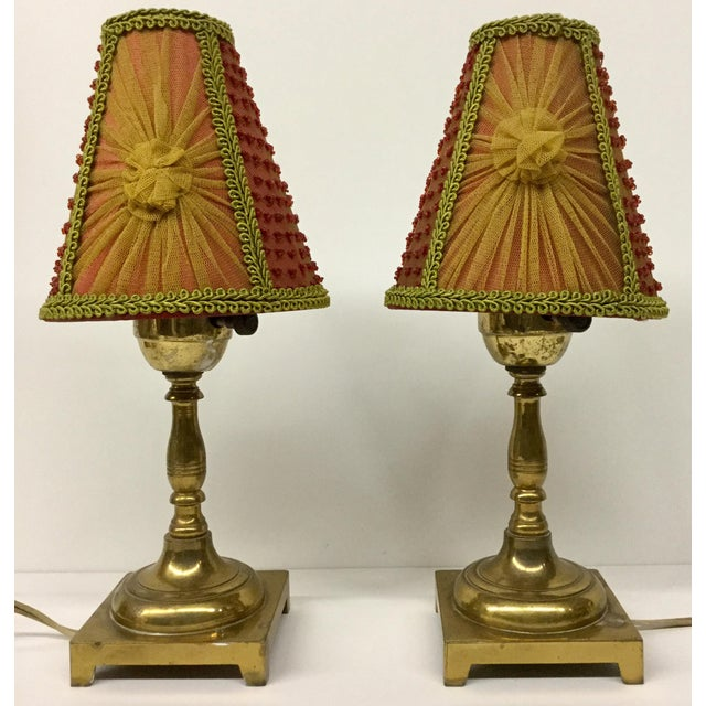 1940s Small Vintage Brass Table Lamps With Shades - a Pair For Sale - Image 13 of 13