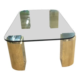 Karl Springer Brass and Chrome Coffee Table For Sale