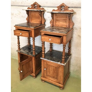 Antique, Tall and High Top Solid Oak Bedside Cabinets With Marble Top and Drawer Preview