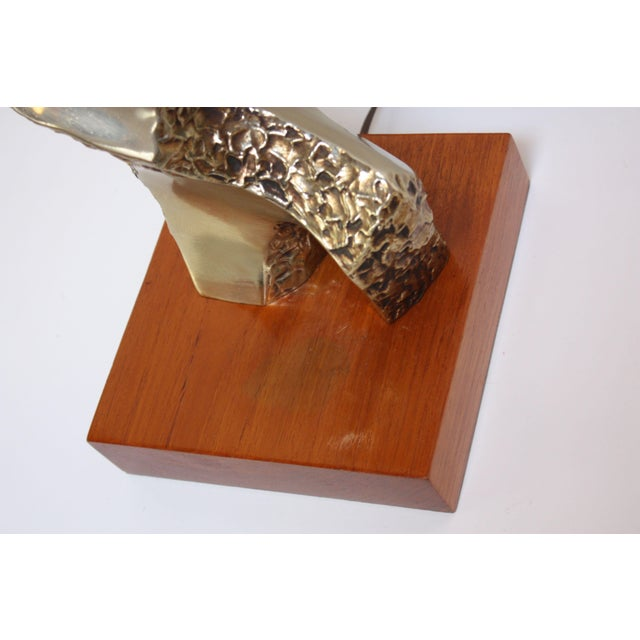 Metal Sculptural Brutalist Brass Table Lamp by Maurizio Tempestini for Laurel For Sale - Image 7 of 13