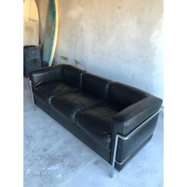 Le Corbusier 1980s Le Corbusier Lc2 Three Seat Sofa For Sale - Image 4 of 8