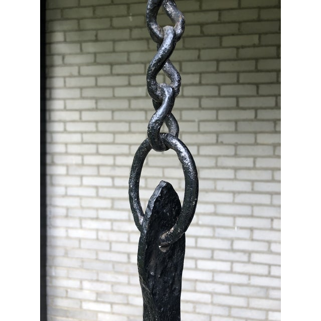 16th Century 16th Century Continental Hand Forged Wrought Iron Cremaillere Kitchen Tool Holder For Sale - Image 5 of 13