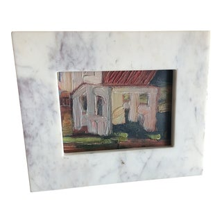 Painting of House Scene in Oil With Marble Frame on Stand For Sale
