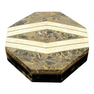 Mid Century Modern Robert Marcius Casa Bique Brass Tessellated Stone Lidded Box For Sale