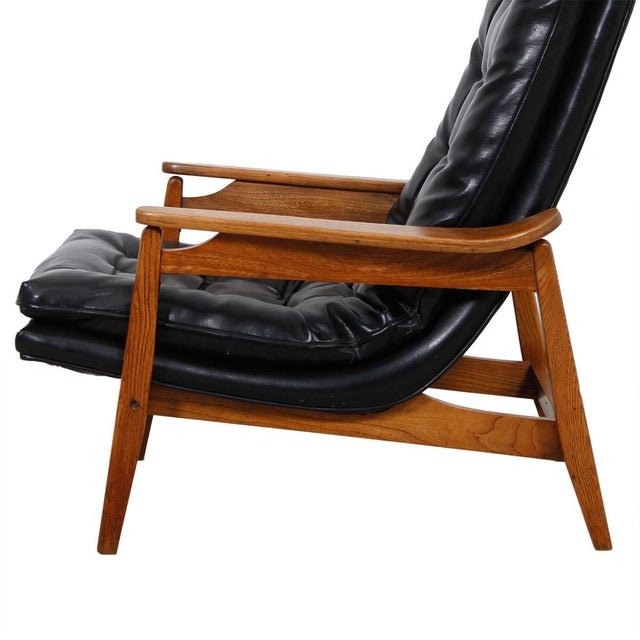Mid-Century Modern Tufted Lounge Chair With Ottoman - Image 2 of 10