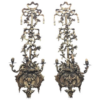 Pair of 19th Century Regency Carved Giltwood Sconces or Wall Appliques For Sale