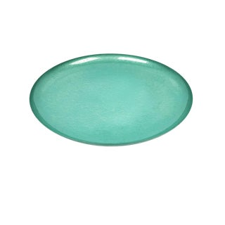 Vintage Mid-Century Teal Moire Glazed Kyes Round Tray / Platter