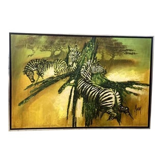 Vintage Large Scale Zebra Painting by Moran For Sale