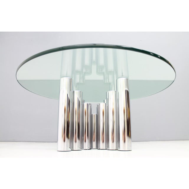 Modern Coffee Table in Chrome & Glass 1970s For Sale - Image 11 of 11