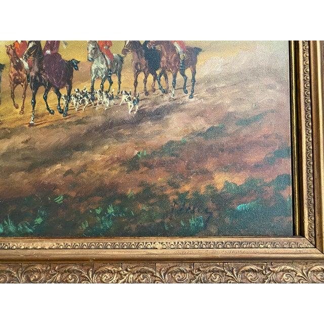 Antique Framed Hunt Scene Painting For Sale - Image 4 of 13