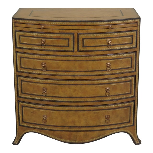 1990s Art Deco Maitland Smith Bow Front Leather Bachelor Chest For Sale