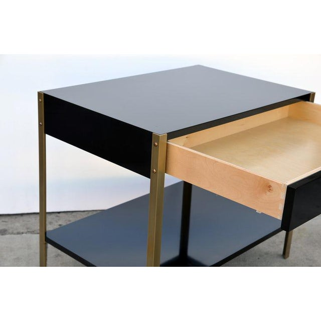 "Contemporary ""Laque"" Black Lacquer and Brass Night Stand For Sale In Los Angeles - Image 6 of 7"