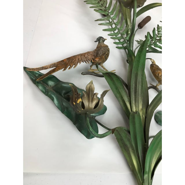 1980s Vintage Italian Tole Wall Candle Sconce Pheasants Ferns Cattails For Sale - Image 5 of 11