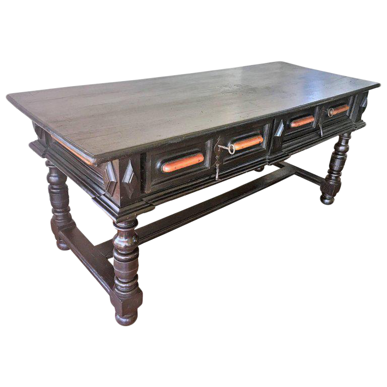 18th Century Spanish Renaissance Walnut Refectory Table. Desk. Hall Table