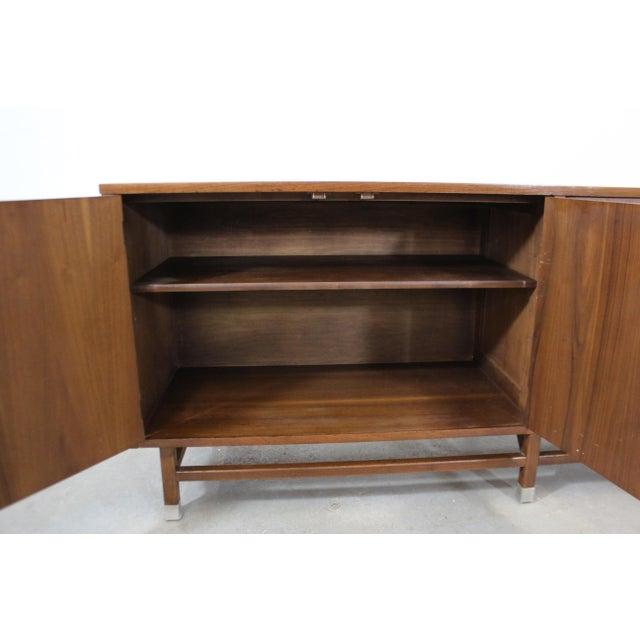 Stanley Furniture Mid-Century Danish Modern 4-Door Parquet Walnut Credenza Sideboard For Sale - Image 4 of 13