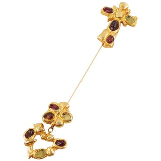 Christian Lacroix Paris Signed Long Pin Brooch Gilt Metal and Cabochon For Sale
