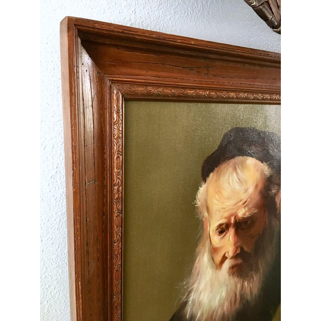 """Vintage Rennaisance Baroque Replica Rembrandt """"Head of an Old Man in a Cap"""" Oil Painting For Sale In Los Angeles - Image 6 of 8"""