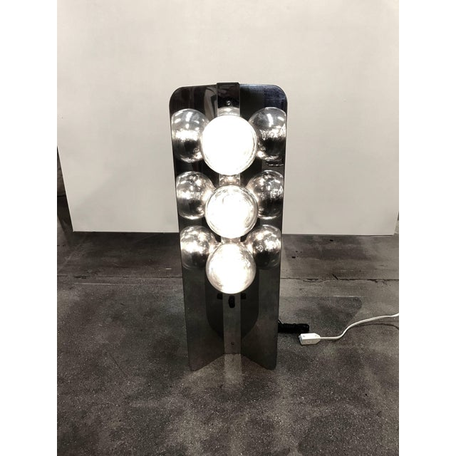 Chrome Lamp With Three Large Bulbs For Sale - Image 10 of 10