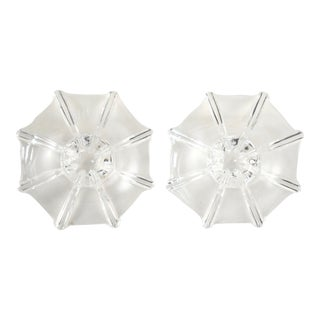 Fluted Crystal Candle Holders - a Pair For Sale
