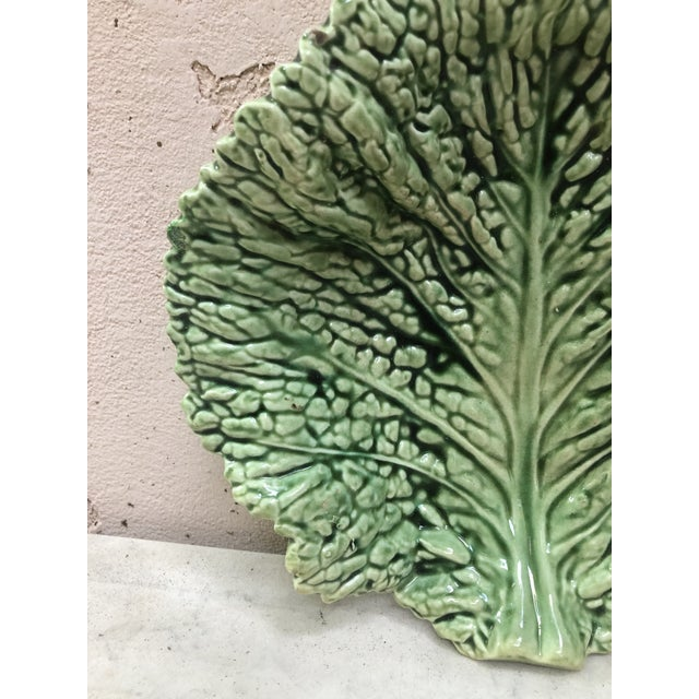 French Country Majolica Green Cabbage Leaf Platter Sarreguemines, Circa 1930 For Sale - Image 3 of 6