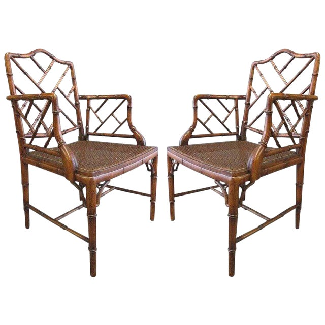 Pair of Chinese Faux Bamboo Chippendale Style Armchairs For Sale