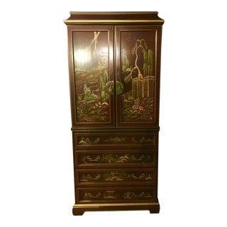 Vintage Chinoiserie Jasper China Bar Cabinet