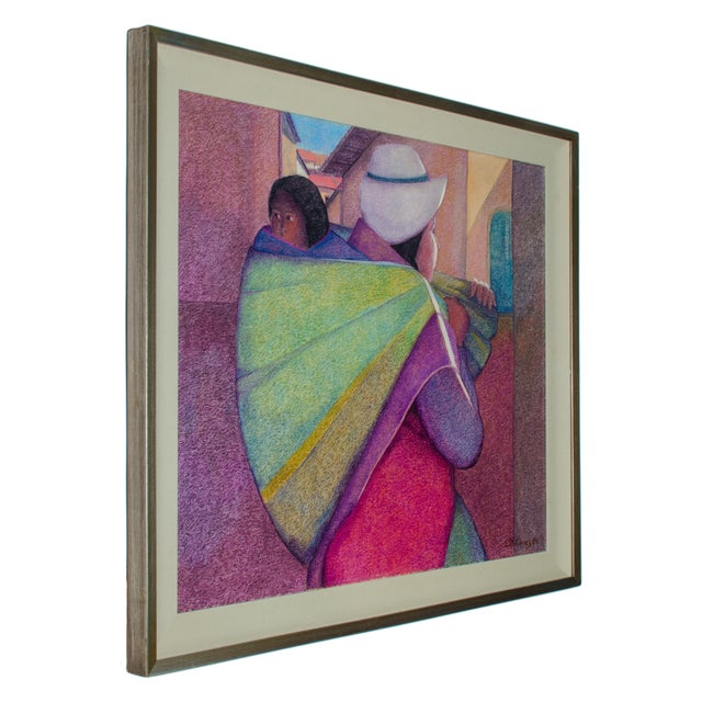 Ernesto Gutierrez (Peruvian, b.1939) Woman with Child, 1984 Sight 37 ¾ by 30 ¾ inches Frame 44 by 37 inches signed and...