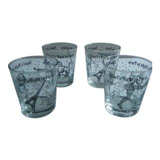 Vintage Saaci's Night in Paris Cocktail Glasses - Set of 4