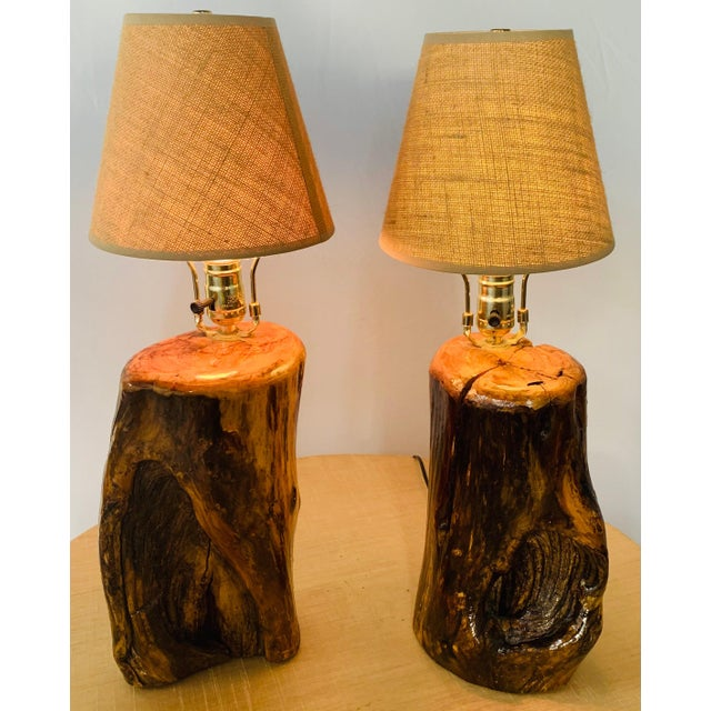 Contemporary Organic Modern Design Maple Wood Table Lamps, a Pair For Sale - Image 3 of 13