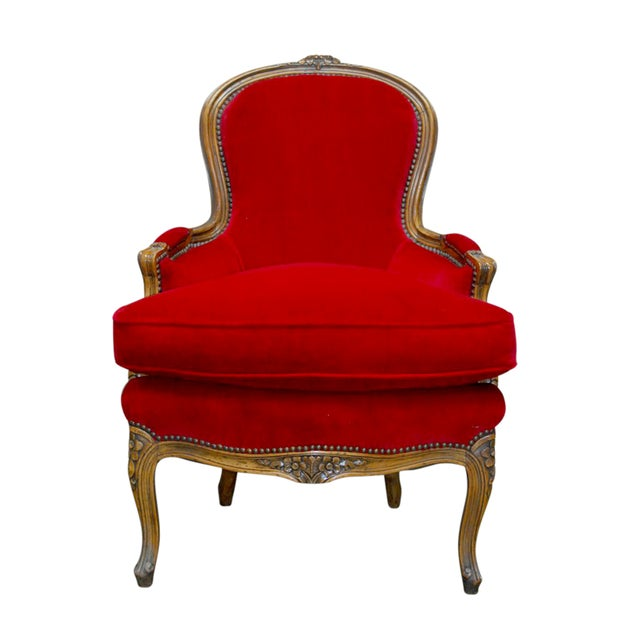 Antique French Louis XV Carved Red Velvet Bergere - Image 1 of 9