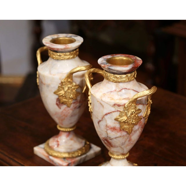 French Pair of 19th Century French Beige Marble and Bronze Dore Cassolettes Vases For Sale - Image 3 of 7