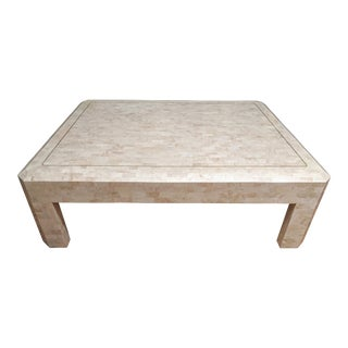 Maitland Smith Tesselated Marble (Coral) Coffee Table For Sale