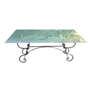 Superb Marble Top Wrought Iron Baker's Table For Sale