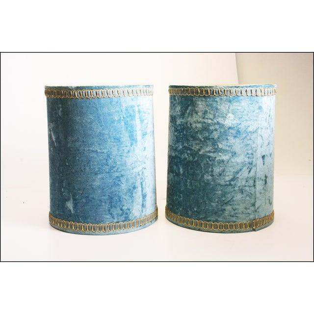 Vintage Hollywood Regency Blue Crushed Velvet Lamp Shades - A Pair - Image 2 of 10