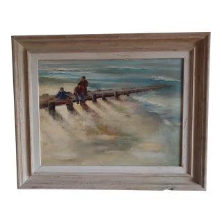 "1960s Vintage Farris Woolston ""Breakwater"" Seascape Oil Painting For Sale"