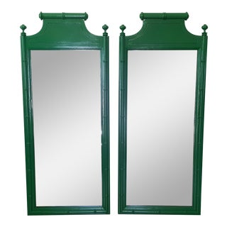 Henry Link Bali Hai Faux Bamboo High Gloss Green Dresser Mirrors - a Pair For Sale