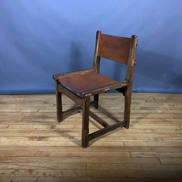 Brown Four French 1940s Saddle Leather & Oak Dining Chairs For Sale - Image 8 of 13