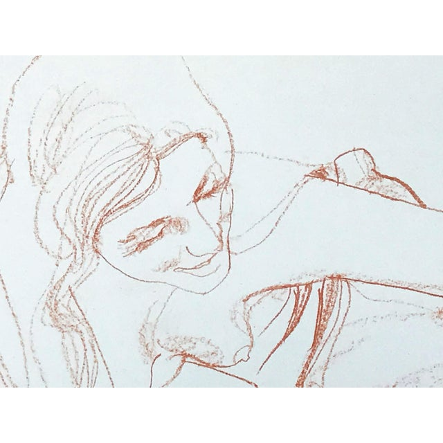 Vintage Bohemian Sanguine Drawing of Nude Couple For Sale In New York - Image 6 of 8