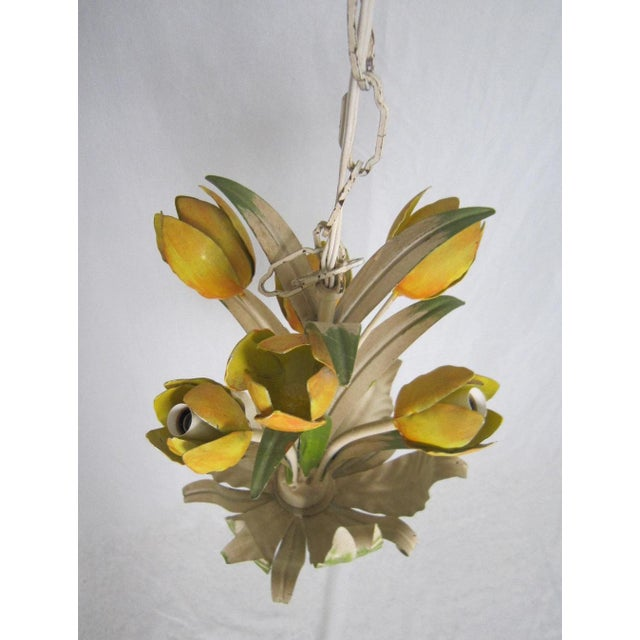 Italian Tole Tulip Chandelier - Image 3 of 6