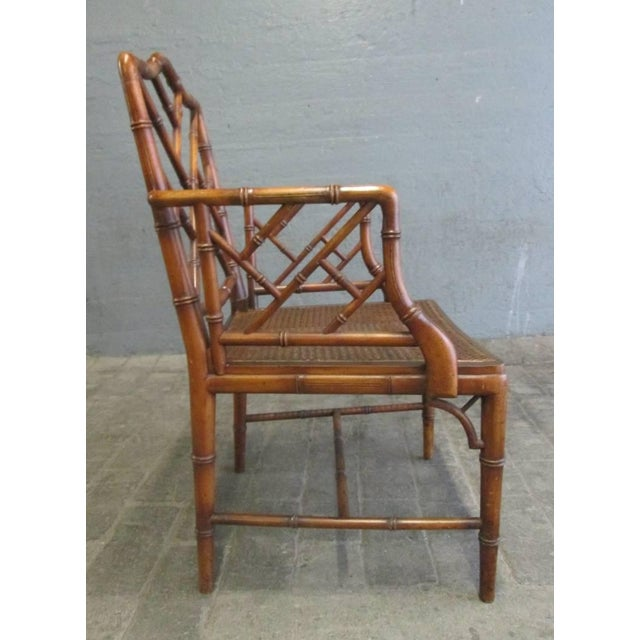 Asian Pair of Chinese Faux Bamboo Chippendale Style Armchairs For Sale - Image 3 of 7