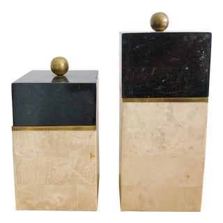 Pair Vintage Tessellated Marble Decorative Lidded Boxes With Brass Accents For Sale
