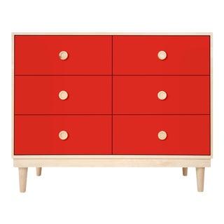 Nico & Yeye Lukka Modern Kids 6 Drawer Dresser Maple Red For Sale