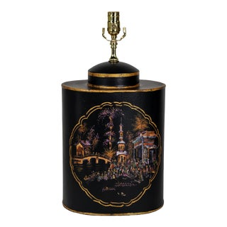 Vintage English Export Chinoiserie Style Tea Caddy Lamp For Sale