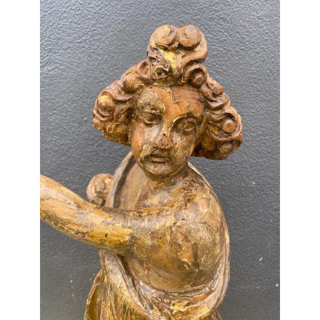 Printmaking Materials 18th Century Italian Giltwood Figure For Sale - Image 7 of 13
