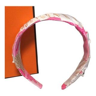 Hermes Handmade Vintage Pink Pivoines Silk Scarf Headband For Sale