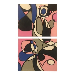 Original Abstract Pink & Blue Paintings on Canvas - a Pair