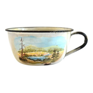 Early 20th Century Antique Early Hand-Painted Tole Enamel Camping Mug For Sale