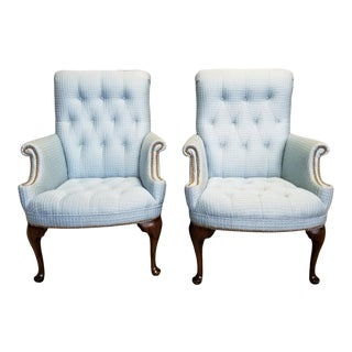 1970s Vintage French Provincial Tufted Arm Chairs- A Pair For Sale